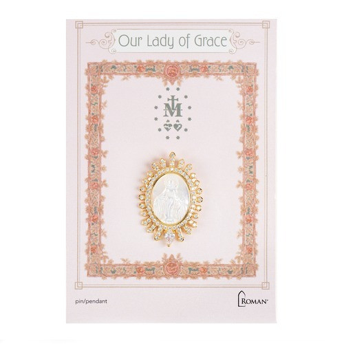 Golden Our Lady of Grace Oval Pin