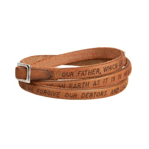 Tan Our Father Leather Wrap Bracelet