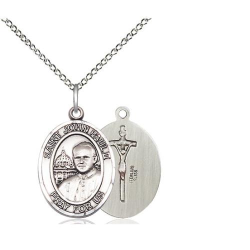 Sterling Silver Pope John Paul II Pendant w/ Chain