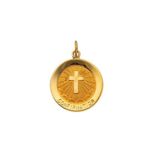 14kt Yellow 18mm Confirmation Medal with Cross