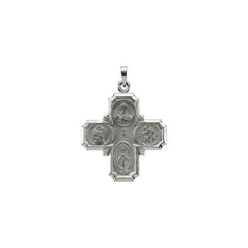 14kt White 25x24mm Four-Way Cross Medal