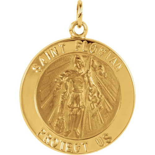 14kt Yellow 22mm Round St. Florian Medal