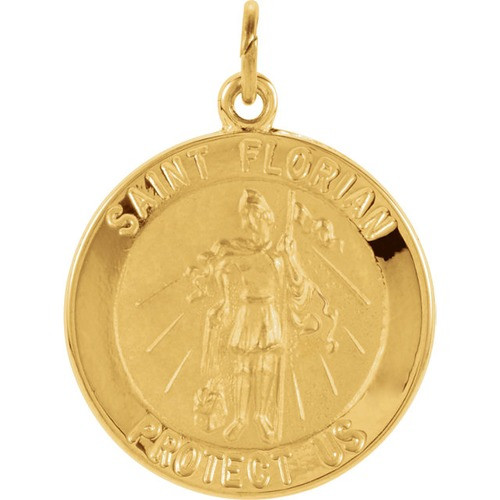 14kt Yellow 18mm Round St. Florian Medal