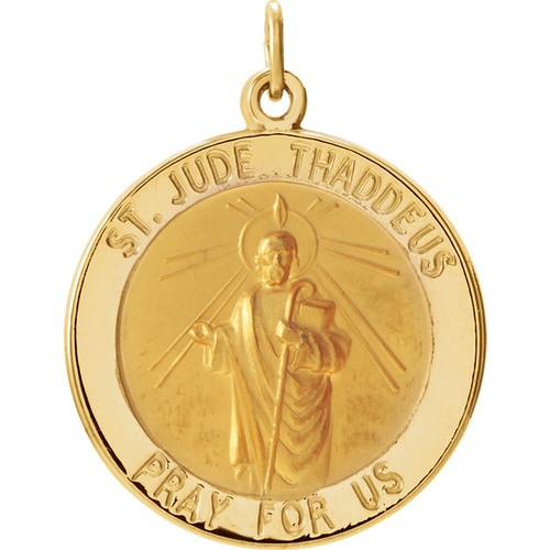 14kt Yellow 22mm Round St. Jude Thaddeus Medal