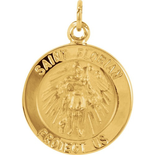 14kt Yellow 14.75mm Round St. Florian Medal