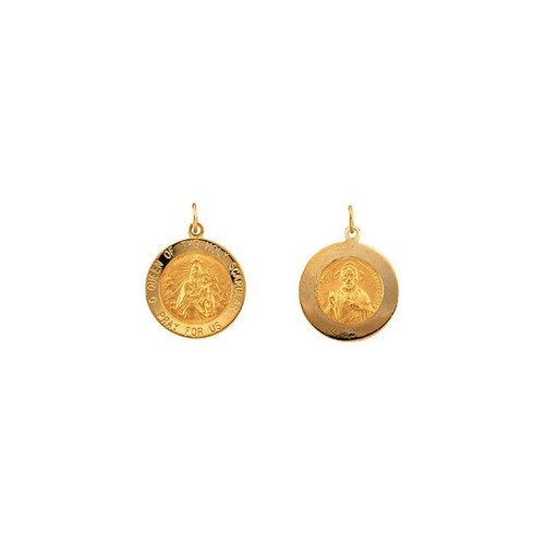 14kt Yellow 18mm Round Scapular Medal