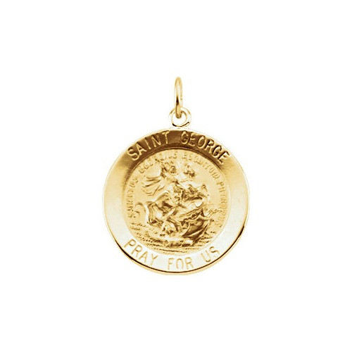 14kt Yellow 18mm Round St. George Medal