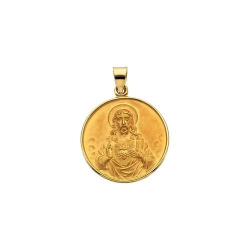 18kt Yellow 24.5mm Sacred Heart Medal