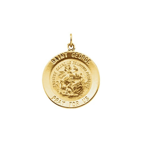 14kt Yellow 22mm Round St. George Medal