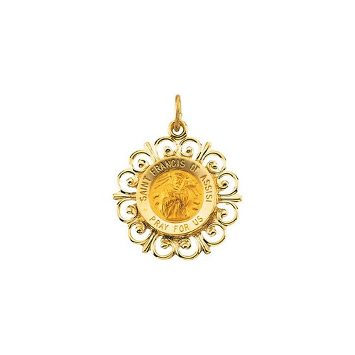 14Kt Yellow 18.5mm St. Francis of Assisi Medal