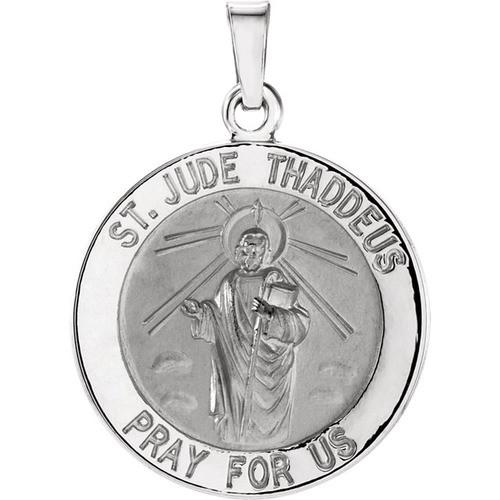 14kt White 18.25mm Round St. Jude Thaddeus Medal