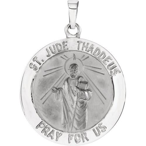 14kt White 22mm Round St. Jude Thaddeus Medal