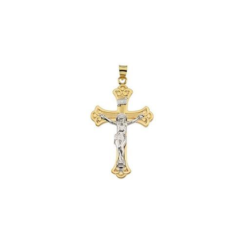 14kt Yellow & White 45x31mm Crucifix Pendant