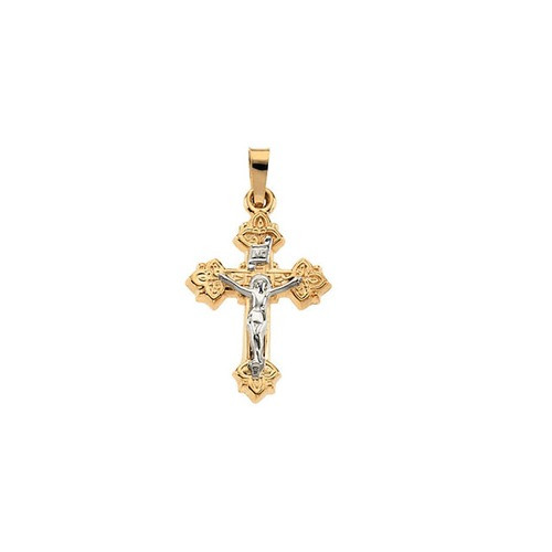 14kt Yellow & White 47x36mm Hollow Crucifix Pendant