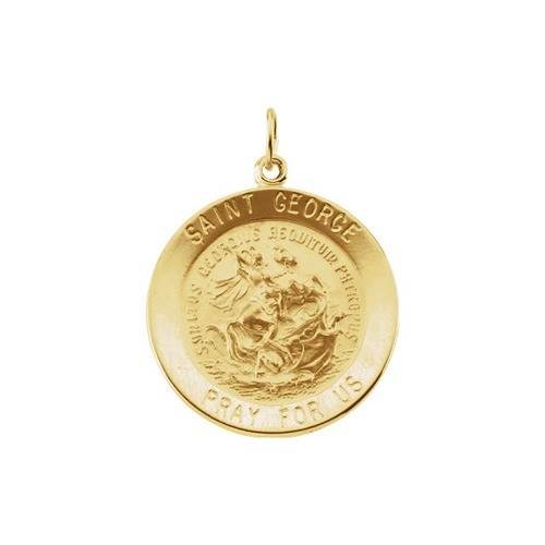 14kt Yellow 25mm Round St. George Medal