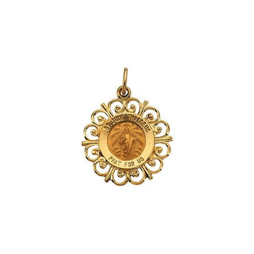 14kt Yellow 18.5mm St. Jude Medal