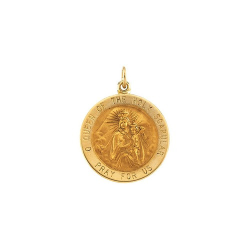 14kt Yellow 22mm Round Scapular Medal