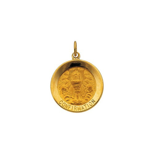 14kt Yellow 18.25mm Round Confirmation Pendant Medal