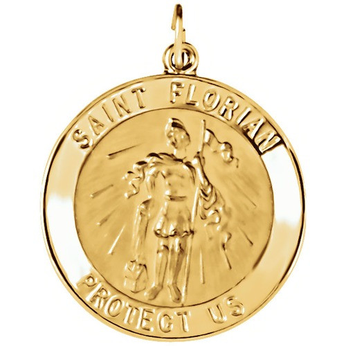 14kt Yellow 25.25mm Round St. Florian Medal