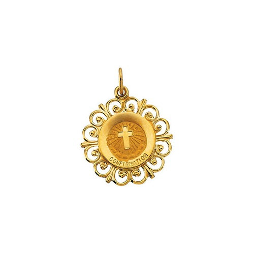 14kt Yellow 20x18.5mm Confirmation Medal