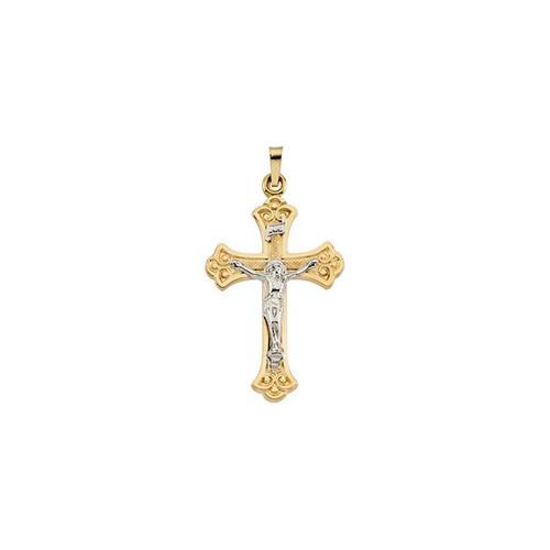 14kt Yellow & White 33x23mm Crucifix Pendant
