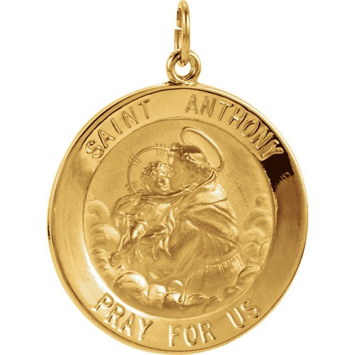 14kt Yellow 25mm St. Anthony Medal