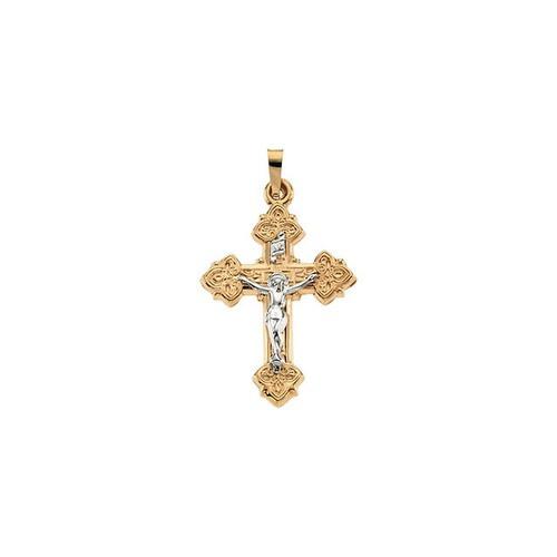 14kt Yellow & White 27.5x20.5mm Hollow Crucifix Pendant