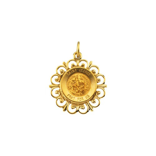 14kt Yellow 18.5mm Round St. George Medal