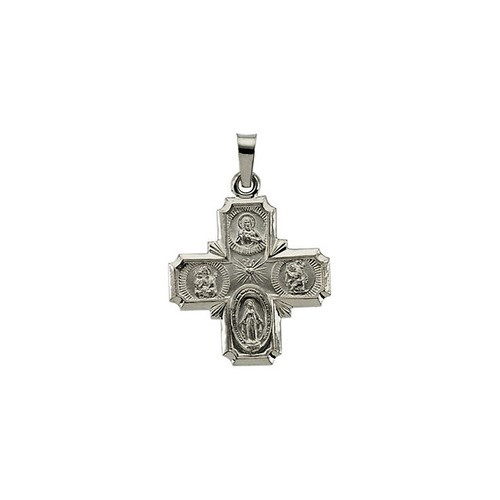 14kt White 18x18mm Four-Way Cross Medal