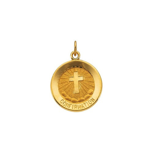 14kt Yellow 15mm Confirmation Medal with Cross