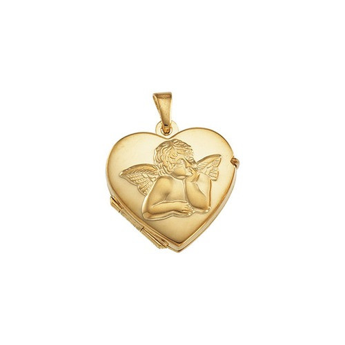 14kt Yellow 17.5x18.5mm Heart Angel Locket