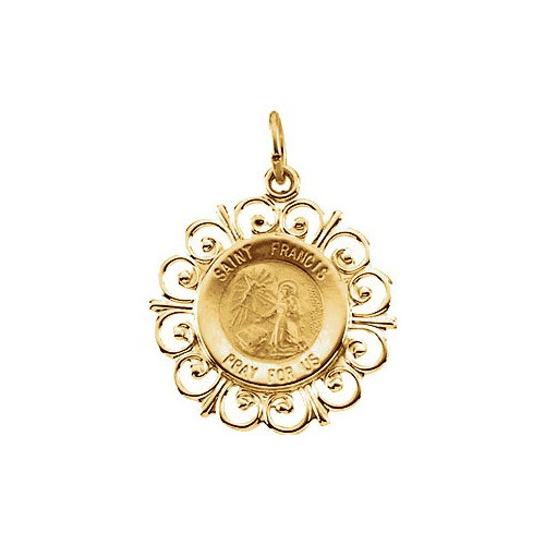 14kt Yellow Gold 18.5mm St. Francis of Assisi Medal