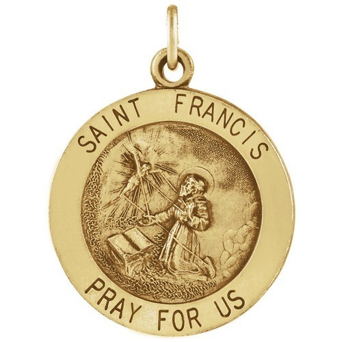 14Kt Yellow 15mm Round St. Francis of Assisi Medal