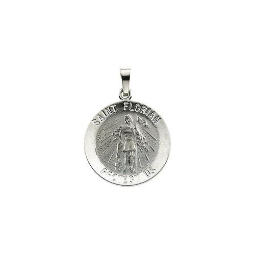 14kt White 18mm Round St. Florian Medal