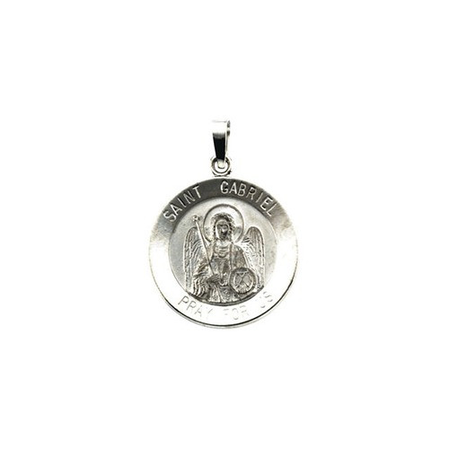 14kt White 18.5mm St. Gabriel Medal