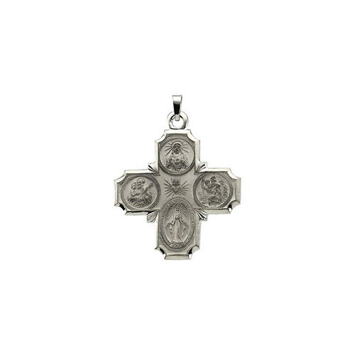 14kt White 30x29mm Four-Way Cross Medal