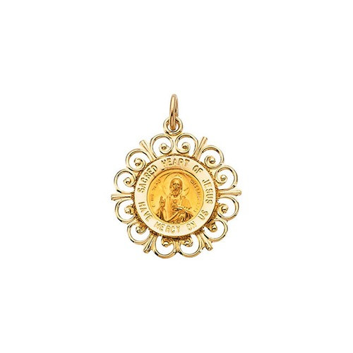 14kt Yellow 18.5mm Round Sacred Heart of Jesus Medal