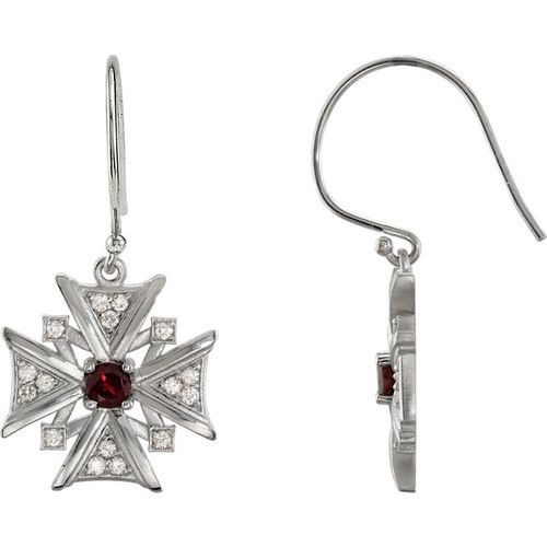 14kt White Gold Mozambique Garnet & Diamond Vintage Style Cross Earrings
