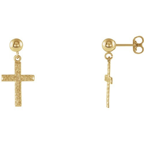 14kt Yellow Gold Cross Dangle Earrings 11 X 8