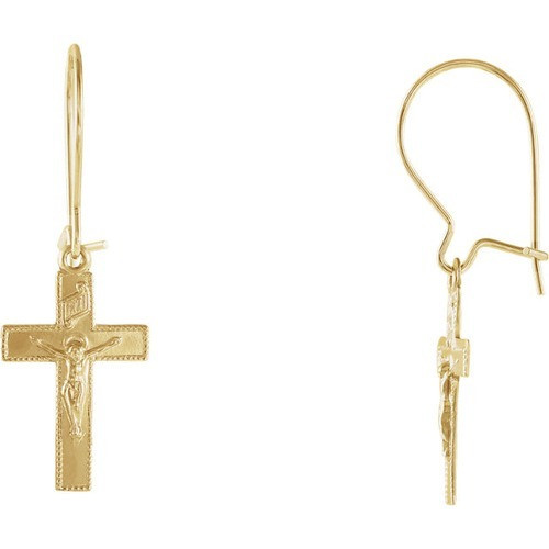 14kt Yellow Gold Crucifix Earrings 14 X 9