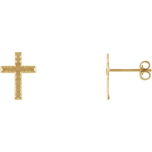 14kt Yellow Gold Cross Earrings 13 X 9