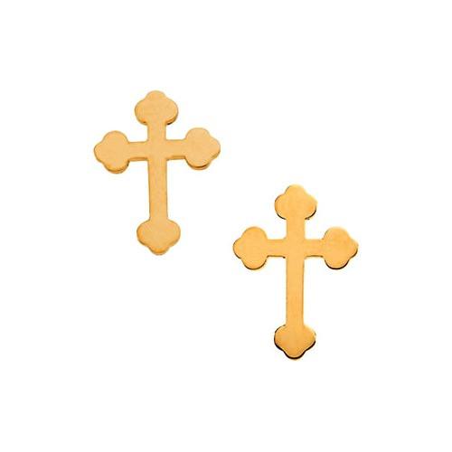 14kt Yellow Gold Cross Earrings 11 X 8
