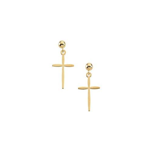 14kt Yellow Gold Cross Dangle Earring 17 X 11 mm
