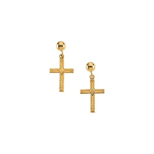 14kt Yellow Gold Cross Ball Dangle Earrings 13 X 10 mm