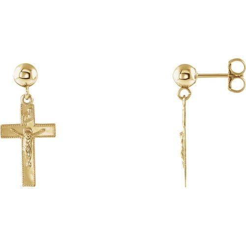14kt Yellow Gold Crucifix Ball Dangle Earrings 14 X 9