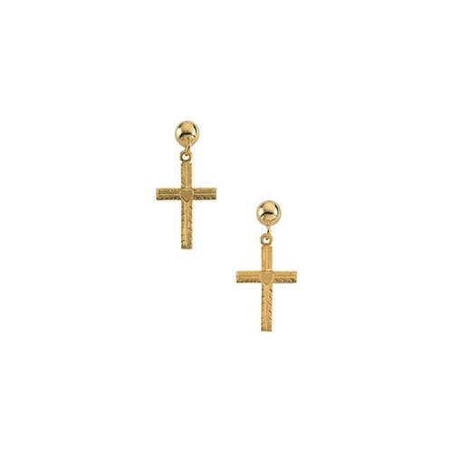14Kt Yellow Gold Cross Ball Dangle Earrings 13 X 10