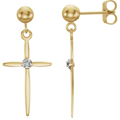 14kt Yellow Gold Diamond Cross Earrings 0.75 Grams