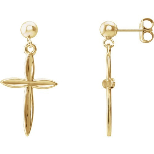 14kt Yellow Gold Cross Dangle Earring 18 X 13 mm