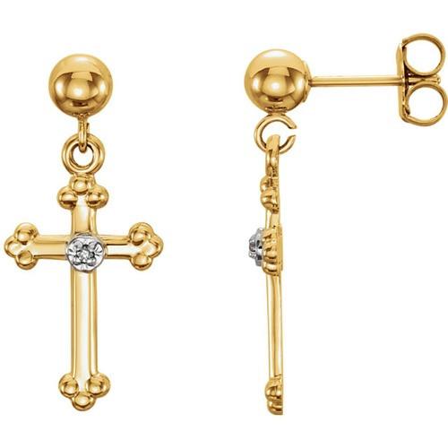 14kt Yellow Gold Diamond Cross Ball Dangle Earring 14 X 9