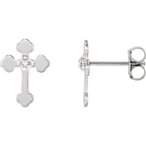 14kt White Gold Diamond Cross Earrings 0.48 Grams